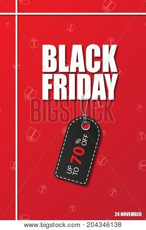 Black friday sale. Black Friday text with black discount tag on red background. Vector illustration.
