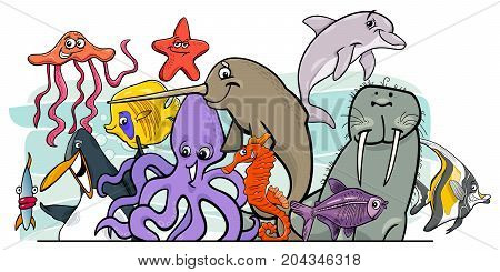 Cartoon Sea Life Animal Characters Group