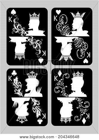 Poker cards King set four color classic design
