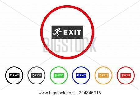 Emergency Exit icon. Vector illustration style is a flat iconic emergency exit grey rounded symbol inside red circle with black, gray, green, blue, red, orange color versions.