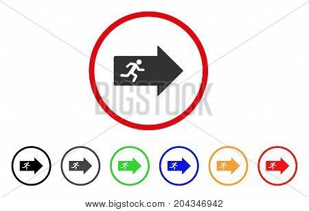 Exit Arrow icon. Vector illustration style is a flat iconic exit arrow gray rounded symbol inside red circle with black, gray, green, blue, red, orange color versions.