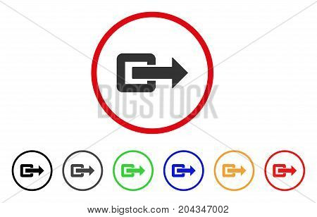 Exit Direction icon. Vector illustration style is a flat iconic exit direction gray rounded symbol inside red circle with black, gray, green, blue, red, orange color versions.