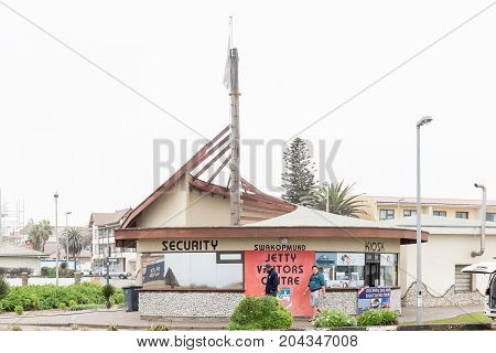 SWAKOPMUND NAMIBIA - JUNE 30 2017: The visitors centre at the entrance to the historic jetty in Swakopmund in the Namib Desert on the Atlantic Coast of Namibia