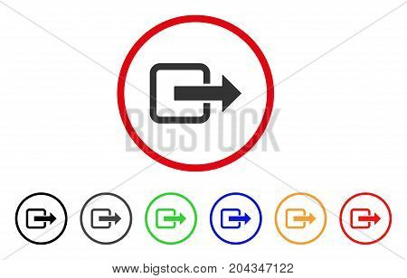 Exit Door icon. Vector illustration style is a flat iconic exit door gray rounded symbol inside red circle with black, gray, green, blue, red, orange color additional versions.