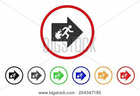 Fire Exit icon. Vector illustration style is a flat iconic fire exit gray rounded symbol inside red circle with black, gray, green, blue, red, orange color additional versions.