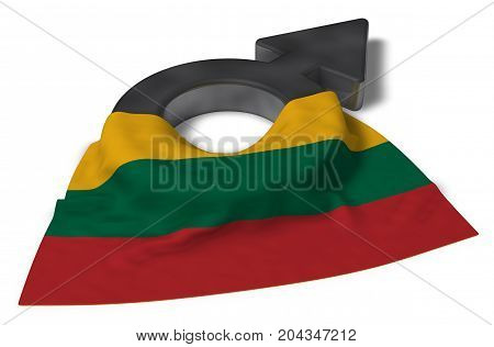 mars symbol and flag of lithuania - 3d rendering