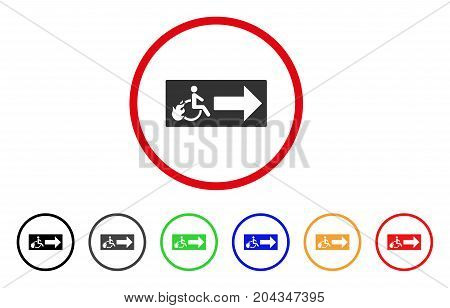 Patient Exit icon. Vector illustration style is a flat iconic patient exit gray rounded symbol inside red circle with black, gray, green, blue, red, orange color variants.