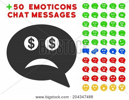 Bankrupt Smiley Message pictograph with bonus smiley graphic icons. Vector illustration style is flat iconic symbols for web design, app user interfaces.