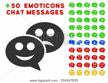 Emotion Chat Messages icon with bonus smiley icon set. Vector illustration style is flat iconic symbols for web design, app user interfaces.