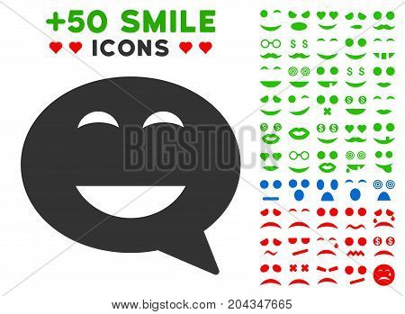 Glad Smiley Message pictograph with bonus emoticon symbols. Vector illustration style is flat iconic symbols for web design, app user interfaces.
