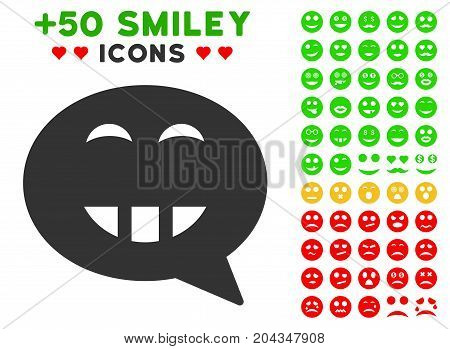 Laugth Smiley Message pictograph with bonus avatar pictograph collection. Vector illustration style is flat iconic elements for web design, app user interfaces.