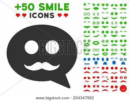 Male Smiley Message icon with bonus smiley images. Vector illustration style is flat iconic symbols for web design, app user interfaces.