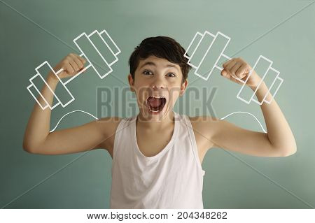 Teen Boy Show Biceps With Dumb Bells Drawn With Chalk Funny Photo