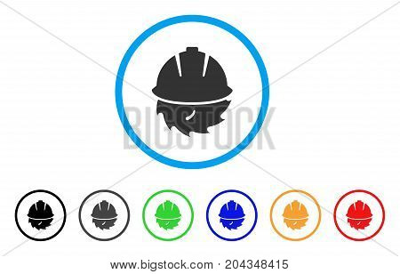 Circular Blade Safety icon. Vector illustration style is a flat iconic circular blade safety grey rounded symbol inside light blue circle with black, gray, green, blue, red,