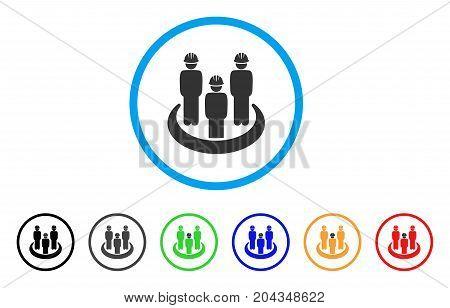 Engineer Community icon. Vector illustration style is a flat iconic engineer community gray rounded symbol inside light blue circle with black, gray, green, blue, red, orange color variants.
