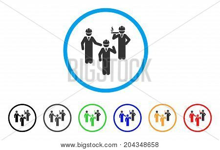 Engineer Persons Discussion icon. Vector illustration style is a flat iconic engineer persons discussion gray rounded symbol inside light blue circle with black, gray, green, blue, red,