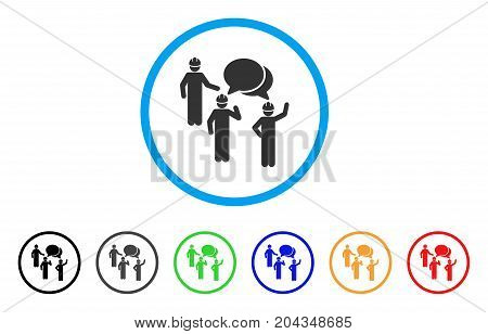 Engineer Persons Forum icon. Vector illustration style is a flat iconic engineer persons forum gray rounded symbol inside light blue circle with black, gray, green, blue, red, orange color variants.