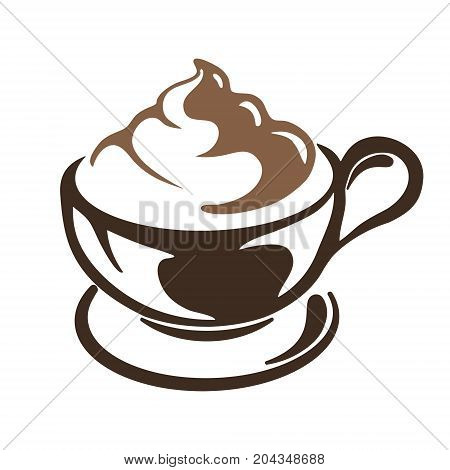 hot cup of cappuccino coffee with cream a white background