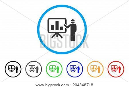 Engineer Pointing Chart Board icon. Vector illustration style is a flat iconic engineer pointing chart board grey rounded symbol inside light blue circle with black, gray, green, blue, red,