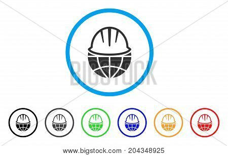 Global Helmet icon. Vector illustration style is a flat iconic global helmet gray rounded symbol inside light blue circle with black, gray, green, blue, red, orange color additional versions.