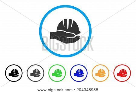 Hand With Helmet icon. Vector illustration style is a flat iconic hand with helmet grey rounded symbol inside light blue circle with black, gray, green, blue, red, orange color versions.