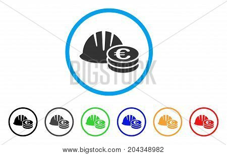 Helmet And Euro Coins icon. Vector illustration style is a flat iconic helmet and euro coins gray rounded symbol inside light blue circle with black, gray, green, blue, red, orange color versions.