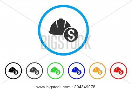 Helmet Price icon. Vector illustration style is a flat iconic helmet price gray rounded symbol inside light blue circle with black, gray, green, blue, red, orange color variants.