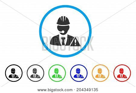 Industrial Emergency Operator icon. Vector illustration style is a flat iconic industrial emergency operator gray rounded symbol inside light blue circle with black, gray, green, blue, red,