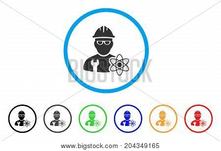 Industrial Scientist icon. Vector illustration style is a flat iconic industrial scientist gray rounded symbol inside light blue circle with black, gray, green, blue, red, orange color versions.
