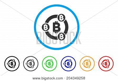 Bitcoin Collaboration icon. Vector illustration style is a flat iconic bitcoin collaboration gray rounded symbol inside light blue circle with black, gray, green, blue, red, orange color versions.