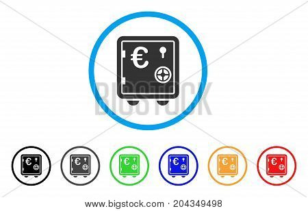 Euro Banking Safe icon. Vector illustration style is a flat iconic euro banking safe gray rounded symbol inside light blue circle with black, gray, green, blue, red, orange color additional versions.