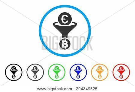 Euro Bitcoin Conversion Funnel icon. Vector illustration style is a flat iconic euro bitcoin conversion funnel gray rounded symbol inside light blue circle with black, gray, green, blue, red,
