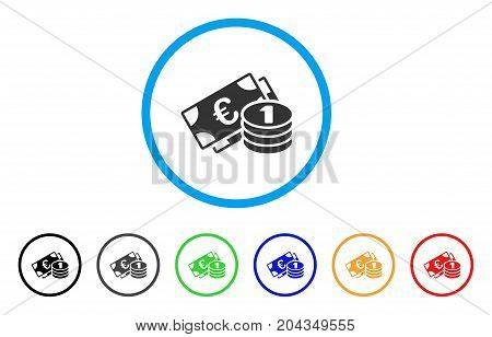Euro Cash Money icon. Vector illustration style is a flat iconic euro cash money gray rounded symbol inside light blue circle with black, gray, green, blue, red, orange color versions.