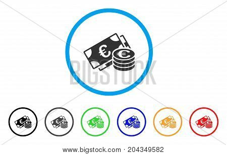 Euro Cash icon. Vector illustration style is a flat iconic euro cash grey rounded symbol inside light blue circle with black, gray, green, blue, red, orange color versions.