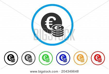 Euro Coin Stack icon. Vector illustration style is a flat iconic euro coin stack grey rounded symbol inside light blue circle with black, gray, green, blue, red, orange color variants.