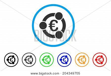 Euro Collaboration icon. Vector illustration style is a flat iconic euro collaboration gray rounded symbol inside light blue circle with black, gray, green, blue, red, orange color versions.
