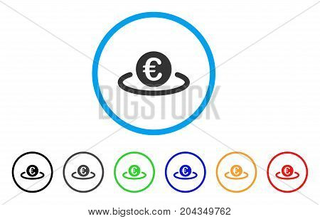 Euro Deposit icon. Vector illustration style is a flat iconic euro deposit grey rounded symbol inside light blue circle with black, gray, green, blue, red, orange color additional versions.