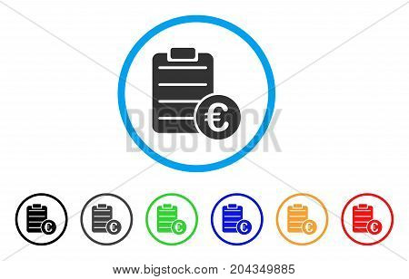 Euro Pad icon. Vector illustration style is a flat iconic euro pad gray rounded symbol inside light blue circle with black, gray, green, blue, red, orange color additional versions.