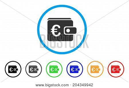 Euro Purse icon. Vector illustration style is a flat iconic euro purse grey rounded symbol inside light blue circle with black, gray, green, blue, red, orange color variants.