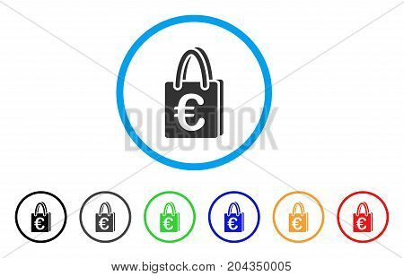Euro Shopping Bag icon. Vector illustration style is a flat iconic euro shopping bag grey rounded symbol inside light blue circle with black, gray, green, blue, red, orange color variants.