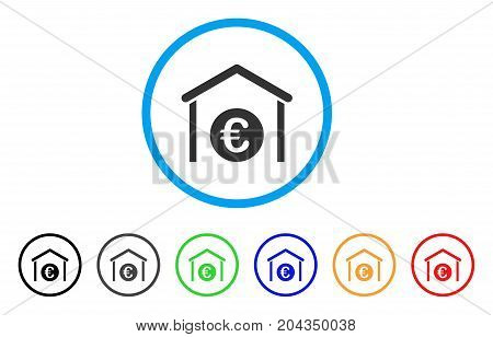 Euro Storage Garage icon. Vector illustration style is a flat iconic euro storage garage gray rounded symbol inside light blue circle with black, gray, green, blue, red, orange color variants.