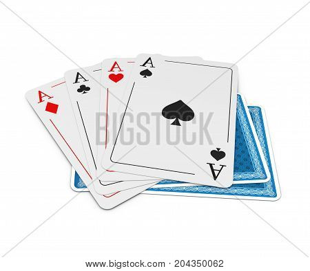 Set Of Four Aces Playing Cards Suits. Winning Poker Hand. 3D Illustration