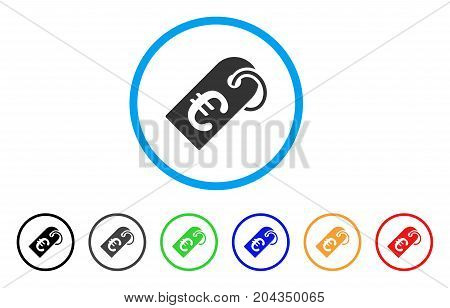 Euro Tag icon. Vector illustration style is a flat iconic euro tag grey rounded symbol inside light blue circle with black, gray, green, blue, red, orange color versions.