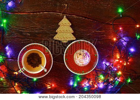 winter cup of tea and Christmas decorations.