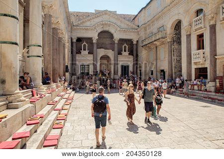 Split Croatia - August 19 2017: View of the peristyle of Diocletian's palace with plenty of tourists.