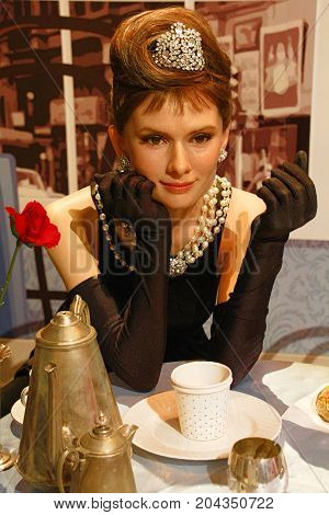 Los Angeles,CA - 28 2013: Audrey Hepbern waxwork figure - Madame Tussauds Hollywood.