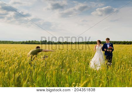 Photographer taking pictures couple of newlyweds in a field