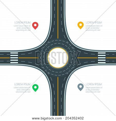 Roundabout Road Junction, Isolated On White Background, Vector Illustration. Infographics Template W