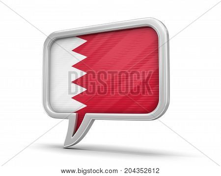 3d Illustration. Speech bubble with Bahrain flag. Image with clipping path