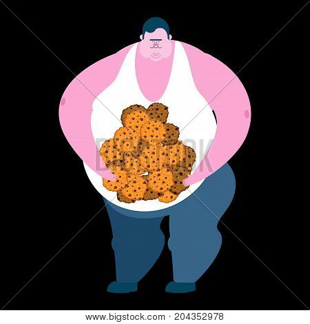 Fat Guy And Cookie. Glutton Thick Man And Biscuit. Fatso Vector Illustration
